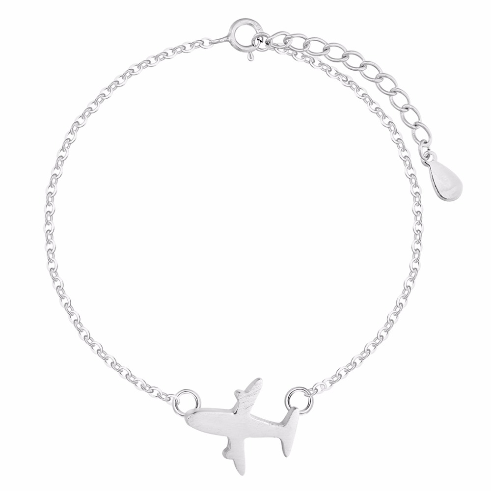 925-Sterling-Silve-Jewelry Matte Aircraft Airplane Bracelet Women Fashion Design Plane Charm Chain Bracelets Bangle