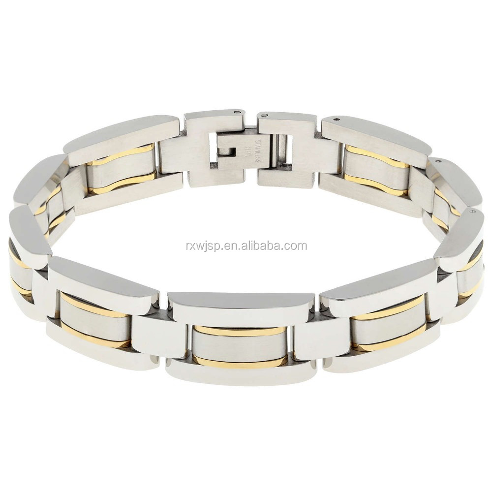 Wholesale Men's 8.5-Inch high Polished 316L Stainless Steel 2-Tone (silver & Gold) Bracelet