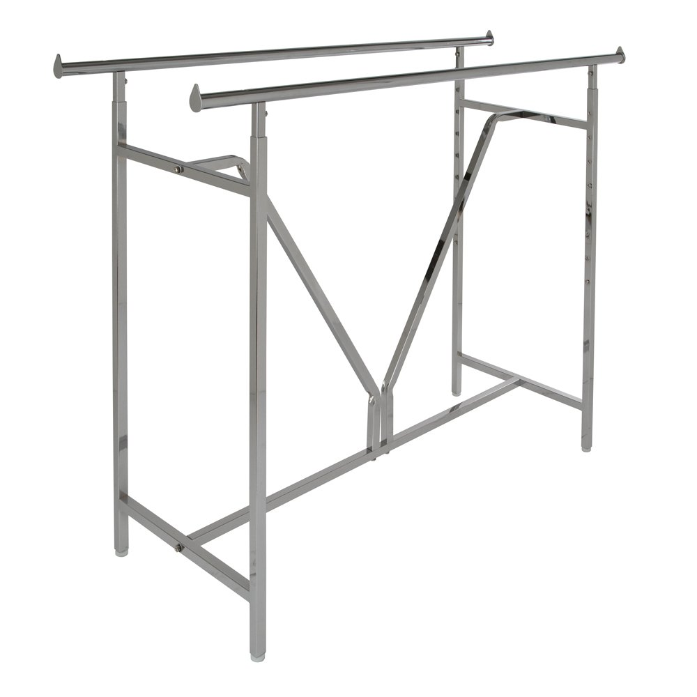 Econoco - Adjustable Heavy Duty Double Bar, Retail Clothing Rack, Rectangular Hangrail Rack w/V-Brace