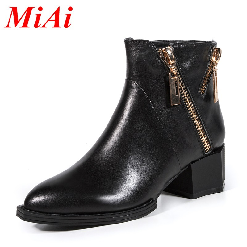 2015 new winter round real leather fashion casual shoes women low ankle boots winter boots simple black ankle boots women 34-39