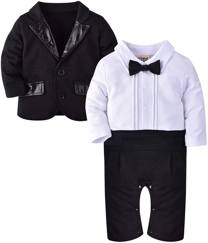 c1fe00ac2 Buy ZOEREA 2pcs Baby Boys Gentlemen Romper + Coat Wedding Suits ...