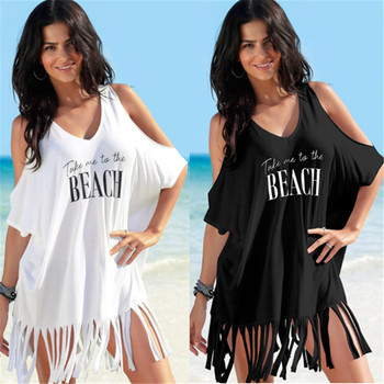 hot sell cotton printing tassel loose large V-neck outside sun protection clothing beach bikini blouse