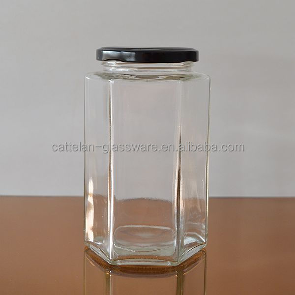 Hexagonal glass canister glass jar for honey/jam with metal lid from Bengbu Cattelan Glassware Factory