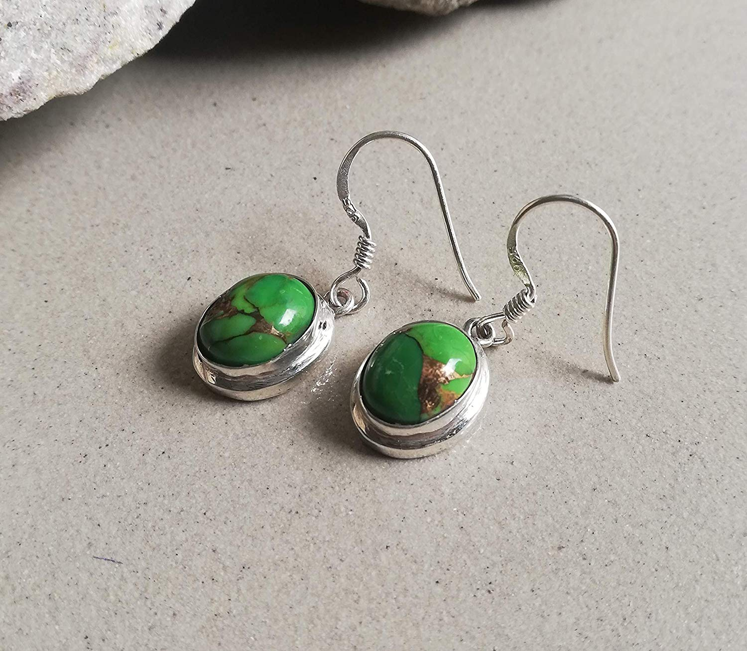 Green Copper Turquoise Earring, 925 Sterling Silver, Unique Piece, Mojave Turquoise Earrings, Dangle Earrings, Vintage Style Earrings, Boho Bride Earrings, Hypoallergenic Earrings, Classic Earrings