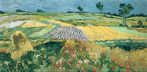 Van Gogh village landscape painting Wheat fields