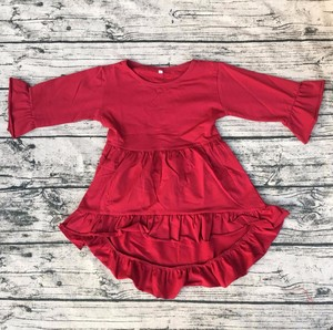 baby party frocks image Fancy Kids Fall Cotton baby stylish frock Girls Long Sleeve High Low Top Dress