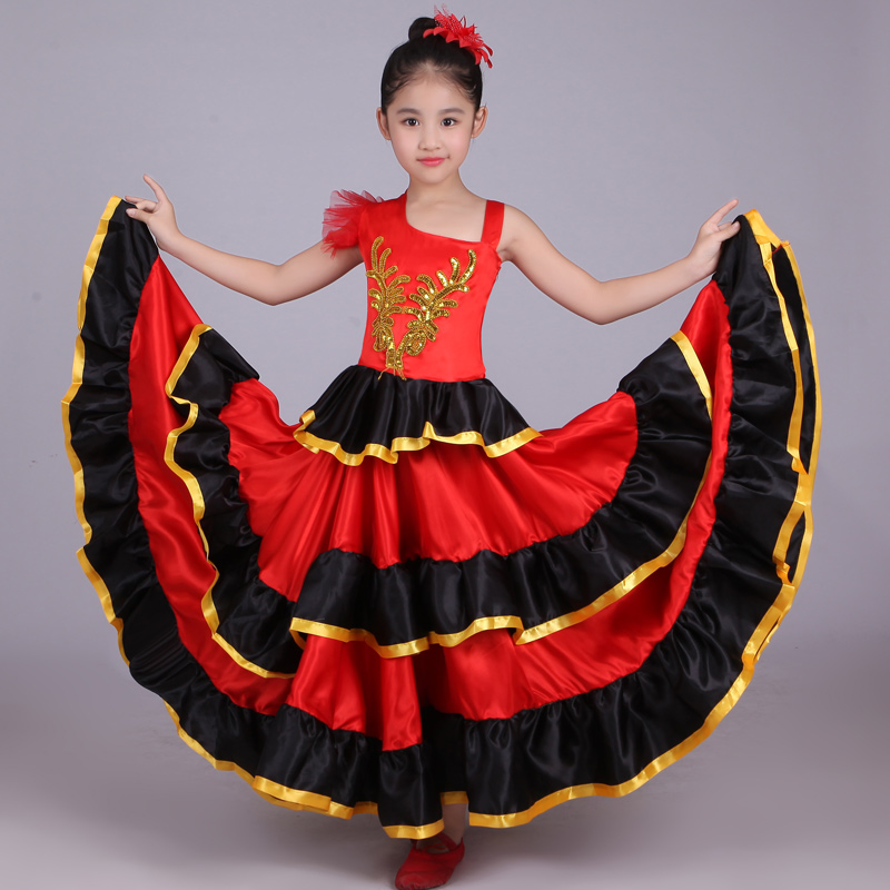 Kids Girls Red Belly Dance Dress Spanish Flamenco Costume Ballroom Tribal Dress With Head Flower Kids Flamenco Dresses For Girls