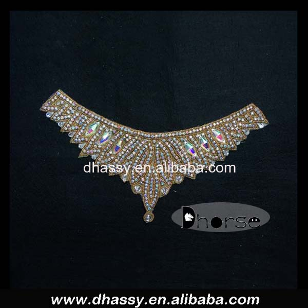 Fashion custom gold beaded colored rhinestone applique iron on AB rhinestone neckline applique