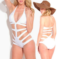 New arrival white swimsuit one piece sexy bandage monokini swimwear