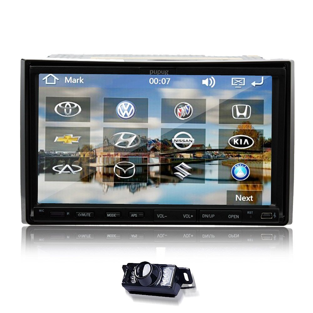 Christmas Sale!!! Transmitter Pupug Double 2 DIN PC GPS Navigation Stereo Radio Player 7 VCD Inch touchscreen FM AM Audio Free VCD Rear Camera GPS Card vw 2DIN AUX Touch Screen FM/AM Audio Acc