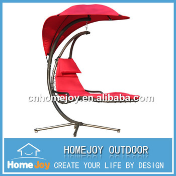 Patio Furniture With Arched Canopy And Curved Stand Metal Swing