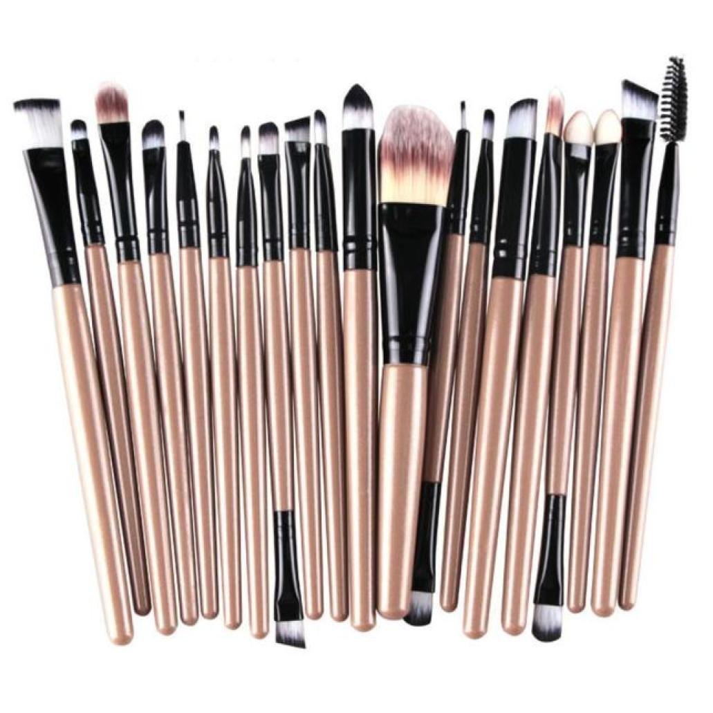 AMA(TM) 20 pcs/set Makeup Brush Set tools Make-up Toiletry Kit Wool Make Up Brush Set (Gold )