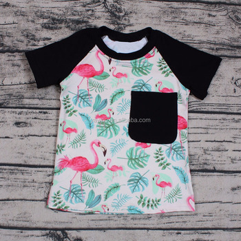96eb8b2d New style wholesale flamingo print Raglan Sleeve T-shirt for Baby Unisex  Boutique Outfits Soft