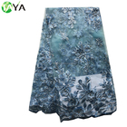 4749 Sky Blue embroidery floral lace fabric/african tulle lace fabric french lace with stones and beads