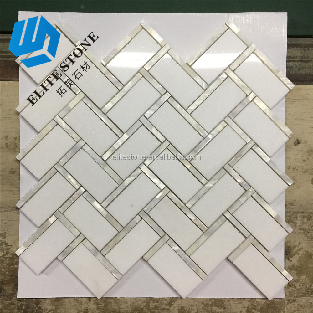Mosaic White Herringbone Marble Mix