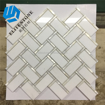 Mosaic White Herringbone Marble Mix