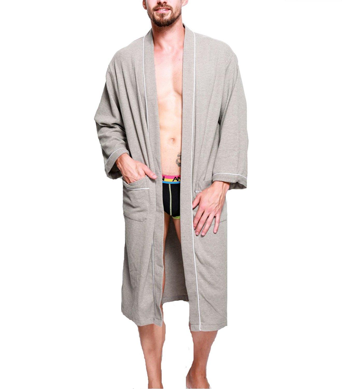 e4472b7d7b Get Quotations · KeepMoving Women Men Robe Soft Cotton Long Bathrobe Night-Robe  Housecoat