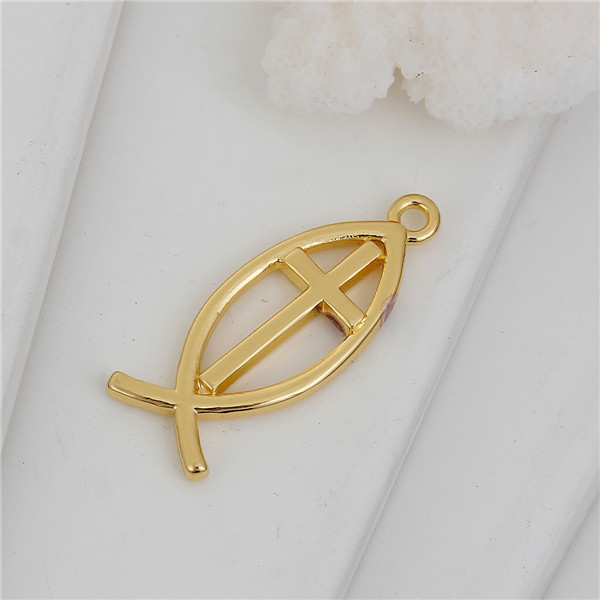 Copper Pendants Jesus/ Christian Fish Ichthys Gold Plated Cross HollowJesus Christ Cross Pendant