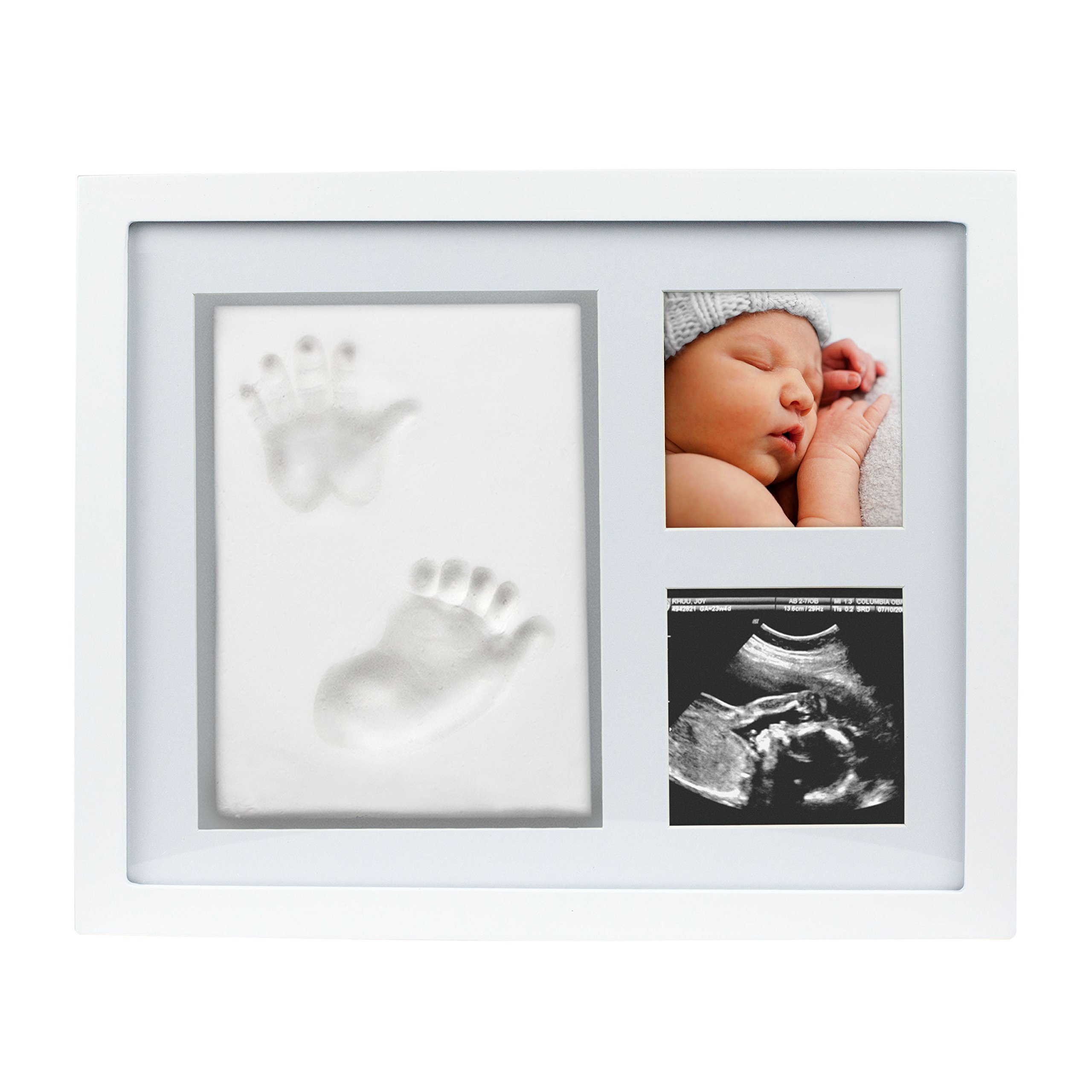 SPECIAL PRICE FOR A LIMITED TIME, Pearhead Babyprints Newborn Baby Handprint and Footprint Photo Frame Kit, Clay Keepsake