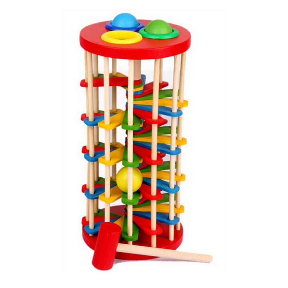 Early Childhood Educational Wooden Toys Color Batting Ladder Games Baby Hand And Knock The Ball Ladder Toys For Kids