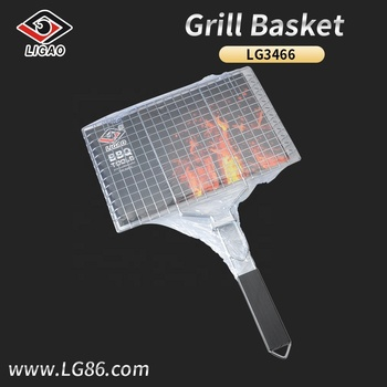Eco-friendly grill beef basket with wooden handle