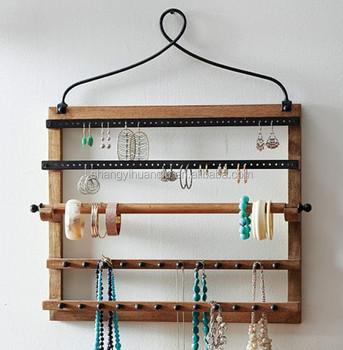 Wall Mount Wooden Jewelry Holder Earring Necklace Shelf Rack Storage Display Hanger