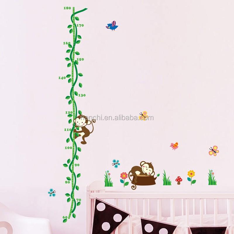 Monkey Tree Growth Chart Wall Stickers Decal Decoration Kids Baby Nursery  Paper Cartoon Kids Room Decor Part 46