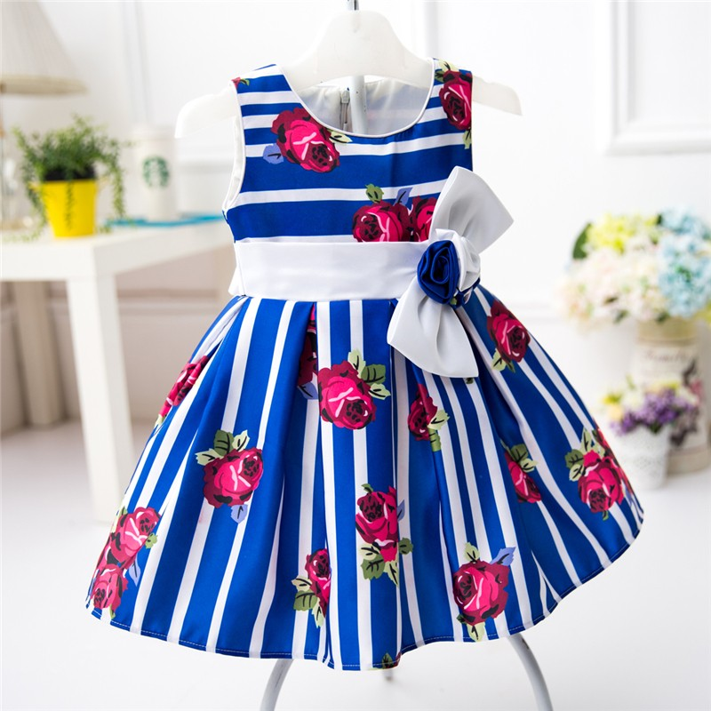 b1e047461ab7 Beautiful Rose Flower Printed Frocks Design Wedding Party Dresses for Baby  Girls L1825XZ