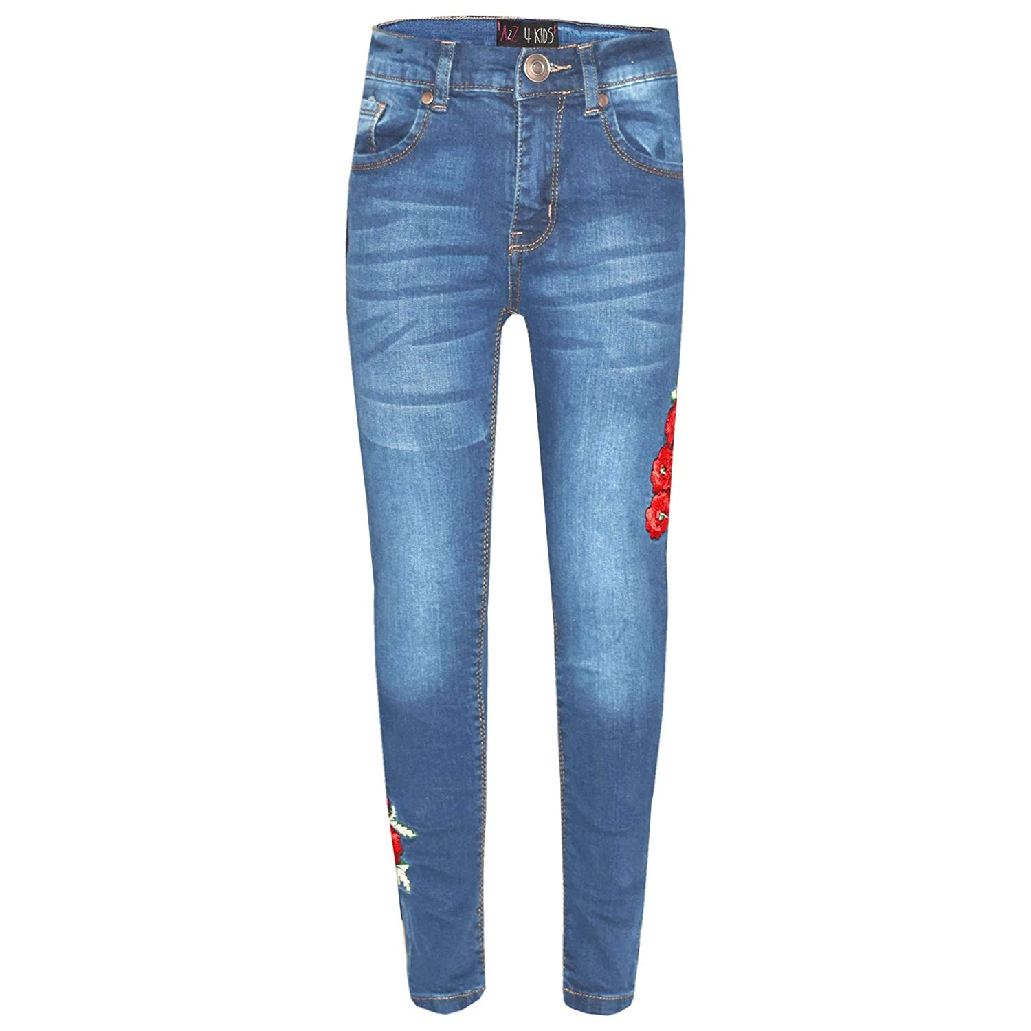 1a270539ab87d Get Quotations · Girls Stretchy Jeans Kids Ripped Denim Pants Trousers  Jeggings Age 5-13 Years