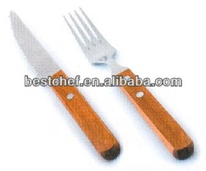Wooden handle knife and fork