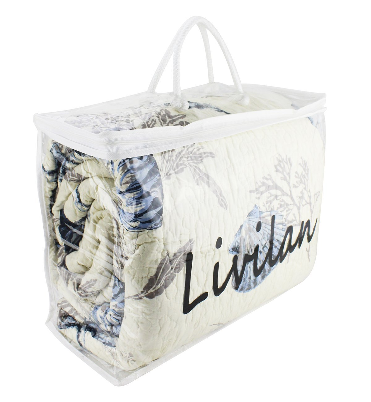 Livilan Clear Heavy Duty Vinyl Zippered Storage Bags,17X13X7 Inch, Pack Of 1 Jumbo Closet Storage Bag For Garment Bedding Toy