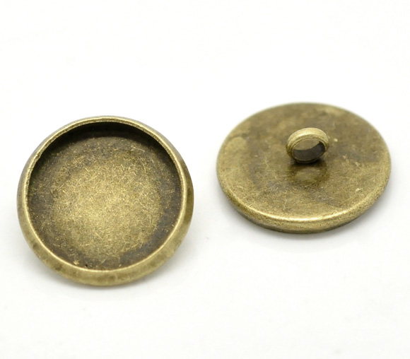 Bulk Sale Antique Bronze Cabochon Setting Shank Wire Back Buttons