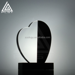 Clear Heart Shaped Crystal Award Trophy for Custom logo
