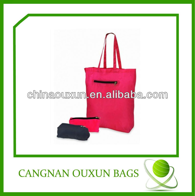 hot design customized nylon foldable shopping bag with printing