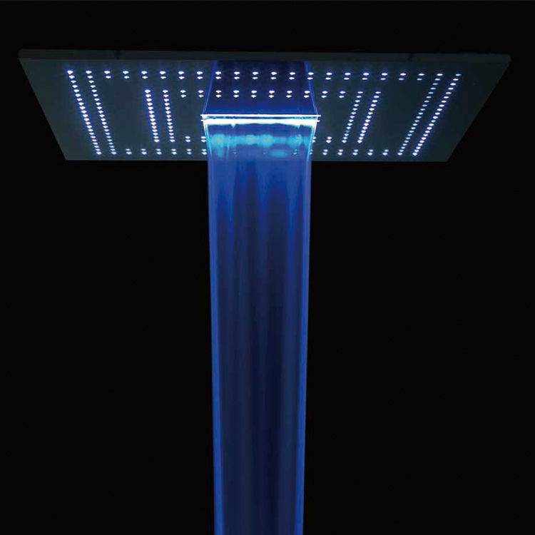Kaiping LED 24 inch rain square ceiling waterfall mount  stainless steel shower heads showerheads with illumination