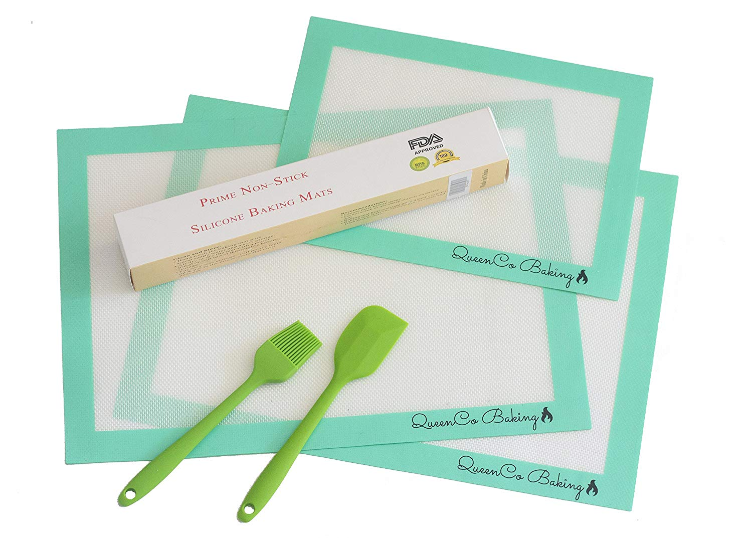 Silicone Baking Mats Non-Stick Set of 3 Heat Resistance Mats 2 Large (16.5x11.6) & 1 Small (11.8x8.3) With Spatula & Brush, Professional Quality Liner For Baking Sheets & Rolling, Teal