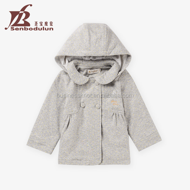Senbodulun OEM High Quality 100% Cotton Baby Girls Hooded Double-button Cardigan Coat for Autumn