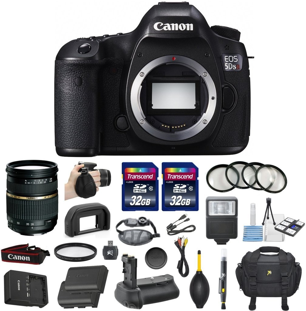 Canon EOS 5DS R Digital SLR with Low-Pass Filter Effect Cancellation Camera Bundle with Tamron AF 28-75mm f/2.8 Autofocus Lens & 2 Transcend 32GB High Speed Memory Cards + Accessory Kit (16 items)