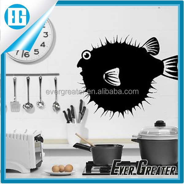 Funny Puffa Fish Animal Wall Sticker Art Decal Home Kitchen Design