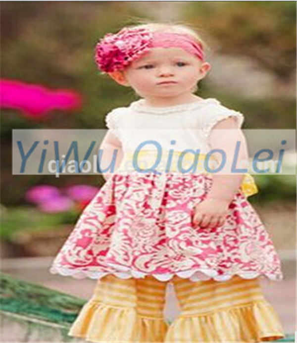 Hot Lovely Girls Kids outfits bowknot cotton Sets giggle moon remake Cotton boutique baby outfits