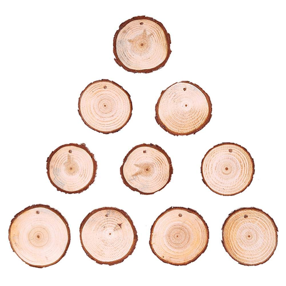 Vipeco 10pcs Christmas Xmas Tree Wood Log Slices Discs Cutout Circle Wood Disks