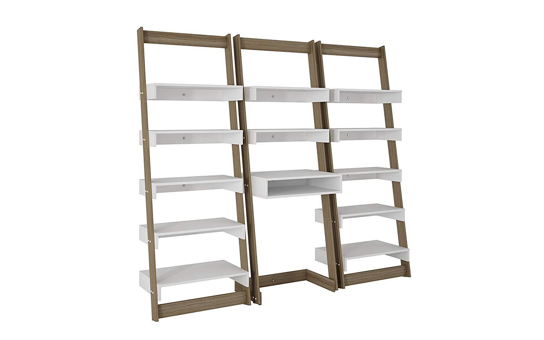 Modern 2 Toned Ladder Shelf Office Desk with 12 Floating Shelves - Includes Modhaus Living Pen