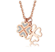 Fashionable four leaf clover shaped necklace rosegold stainless steel chain (SWTRF907)