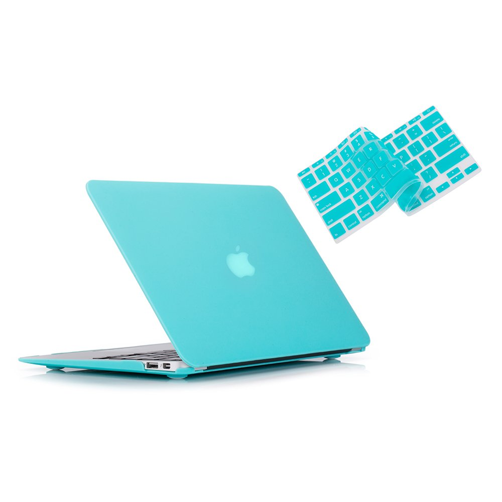 RUBAN 2 in 1 Rubberized Hard Back Case with Keyboard Cover for MacBook Air 13-Inch (Models - A1369 / A1466) - Turquoise
