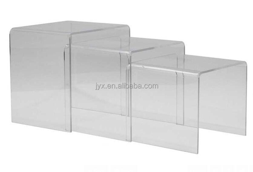 3pc Black Plexiglass Lucite Stacking Acrylic Nesting Table Set   Acrylic  Riser