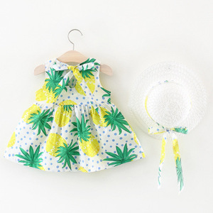 2018 summer korean fashion kids baby girl green pineapple print dress with a hat
