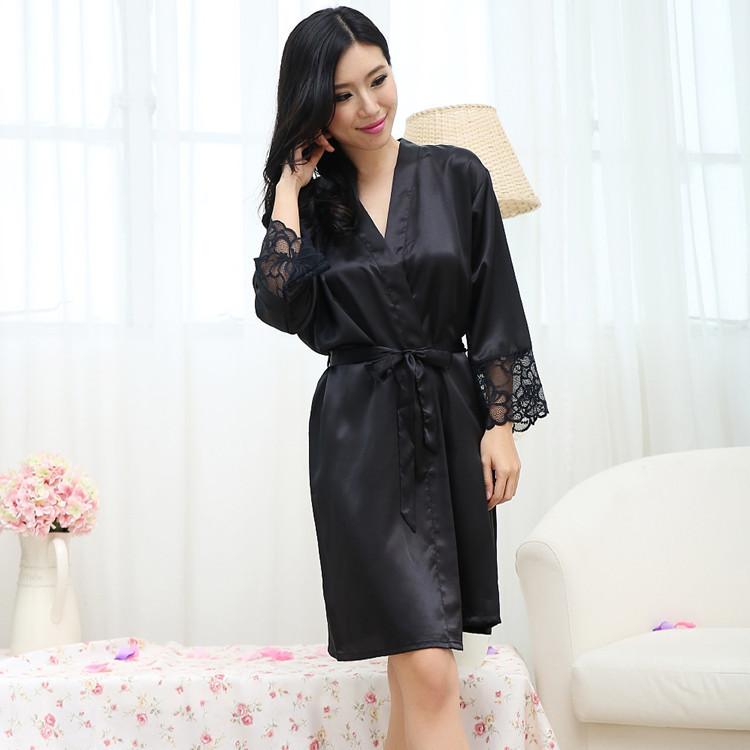 Buy Satin Robes for Brides Weddign Sleepwear Silk Pijama Casual ...