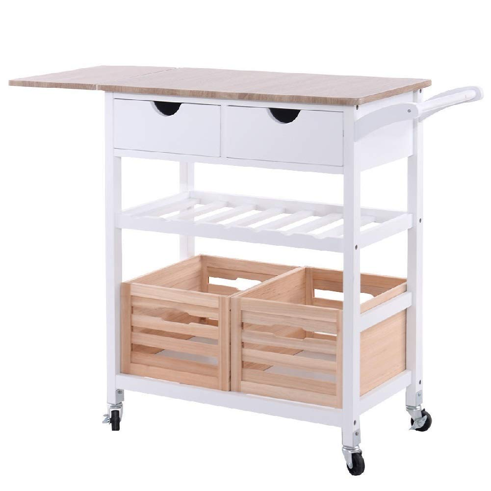 Trolley Rolling Foldable Kitchen Basket Rack Wine Cart Storage Drawer Shelve