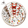 New design 4pcs bone china plate sets butterfly wedding dishes