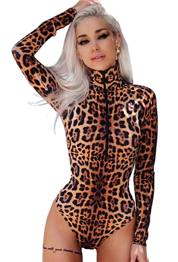 5a6c4cd62c Get Quotations · Angcoco Women's Long Sleeve Sexy Leopard Romper Bodysuit  Jumpsuit